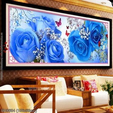 HH0684 Tranh thêu chữ thập Hoa Hồng xanh kích thước trung bình