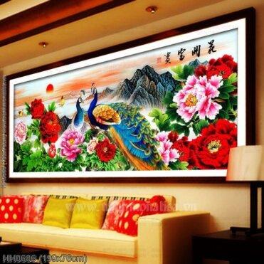 HH0686 Tranh chữ thập thêu kín Hoa khai phú quý khổ lớn