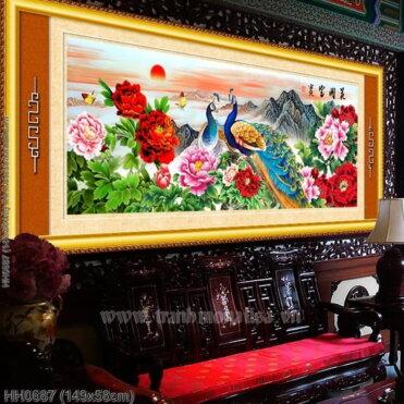 HH0687 Tranh Hoa khai phú quý thêu kín kích thước trung bình
