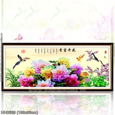 HH0689 Tranh chữ thập thêu kín Hoa khai phú quý khổ lớn