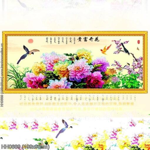 HH0689 Tranh thêu chữ thập Hoa khai phú quý kích thước lớn 199x96cm