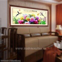 HH0689 Tranh thêu chữ thập Khổng Tước bên hoa Mẫu đơn kích thước lớn