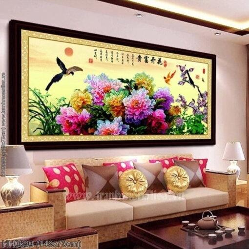 HH0690 Tranh chữ thập thêu kín Hoa khai phú quý khổ trung bình