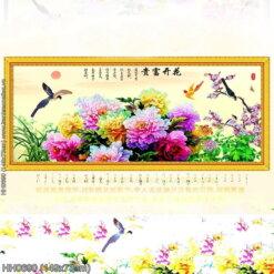 HH0690 Tranh Hoa khai phú quý thêu kín kích thước trung bình