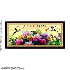HH0690 Tranh thêu chữ thập Hoa khai phú quý kích thước trung bình 149x73cm