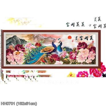 HH0701 Tranh thêu chữ thập Hoa khai phú quý kích thước lớn 162x61cm