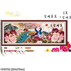 HH0702 Tranh chữ thập thêu kín Hoa khai phú quý khổ siêu lớn