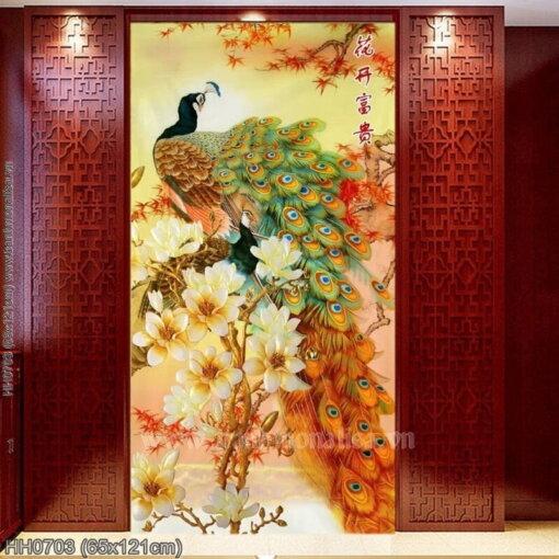 HH0703 Tranh Hoa khai phú quý thêu kín kích thước trung bình