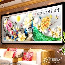 HH0711 Tranh chữ thập thêu kín Hoa khai phú quý khổ lớn