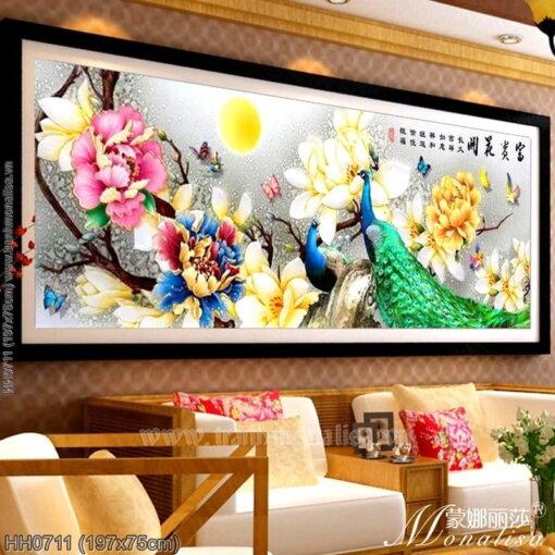 HH0711 Tranh Hoa khai phú quý thêu kín kích thước lớn