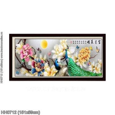 HH0712 Tranh thêu chữ thập Hoa khai phú quý kích thước trung bình 151x59cm