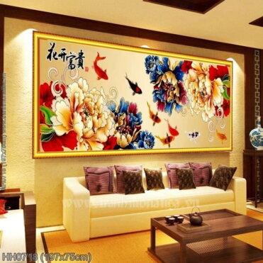 HH0718 Tranh chữ thập thêu kín Hoa khai phú quý khổ lớn