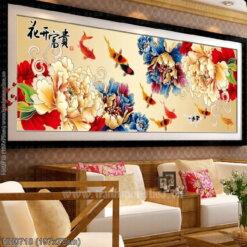 HH0718 Tranh Hoa khai phú quý thêu kín kích thước lớn