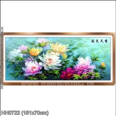 HH0722 Tranh thêu chữ thập Hoa Mẫu Đơn kích thước trung bình