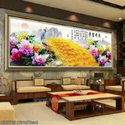 HH0725 Tranh chữ thập thêu kín Hoa khai phú quý khổ lớn