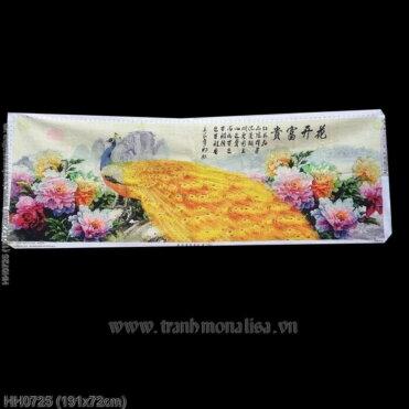 HH0725 Tranh Hoa khai phú quý thêu kín kích thước lớn