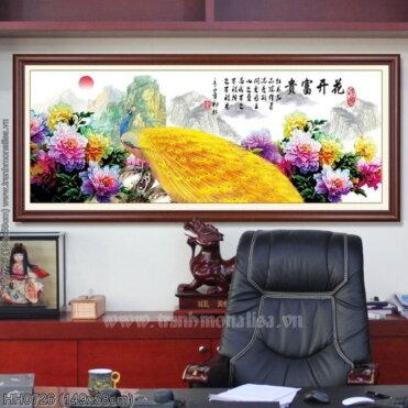 HH0726 Tranh chữ thập thêu kín Hoa khai phú quý khổ trung bình