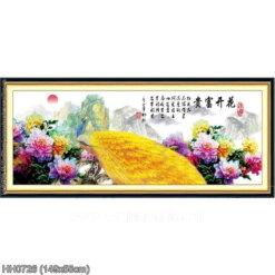 HH0726 Tranh thêu chữ thập Hoa khai phú quý kích thước trung bình 149x58cm