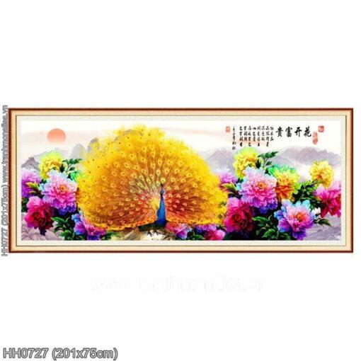 HH0727 Tranh Hoa khai phú quý thêu kín kích thước siêu lớn