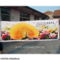 HH0728 Tranh chữ thập thêu kín Hoa khai phú quý khổ trung bình