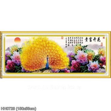 HH0728 Tranh Hoa khai phú quý thêu kín kích thước trung bình