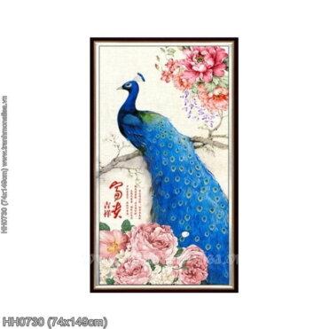 HH0730 Tranh thêu chữ thập Phú quý Cát tường kích thước trung bình 74x149cm