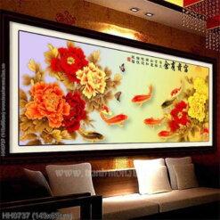 HH0737 Tranh Phú quý hữu dư thêu kín kích thước trung bình