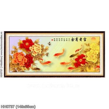 HH0737 Tranh thêu chữ thập Phú quý hữu dư kích thước trung bình 149x65cm