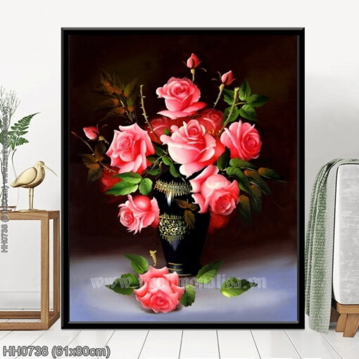 HH0738 Tranh thêu chữ thập Bông hoa tặng người yêu kích thước nhỏ