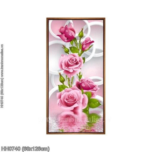 HH0740 Tranh thêu chữ thập Hoa Hồng (khổ dọc) kích thước trung bình 68x126cm