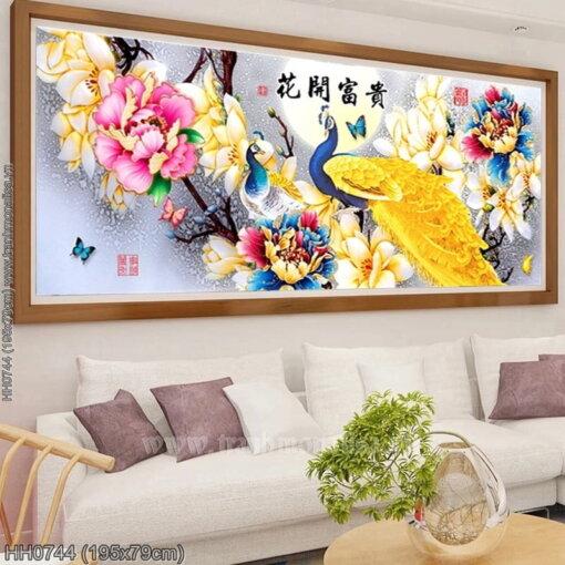 HH0744 Tranh Hoa Khai Phú Quý thêu kín kích thước lớn