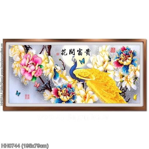 HH0744 Tranh thêu chữ thập Hoa Khai Phú Quý kích thước lớn 195x79cm