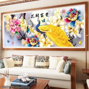 HH0745 Tranh thêu chữ thập Hoa Khai Phú Quý kích thước trung bình 149x62cm