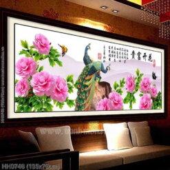 HH0746 Tranh chữ thập thêu kín Hoa Khai Phú Quý khổ lớn