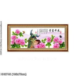 HH0746 Tranh Hoa Khai Phú Quý thêu kín kích thước lớn