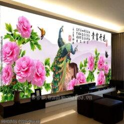 HH0746 Tranh thêu chữ thập Hoa Khai Phú Quý kích thước lớn 195x76cm