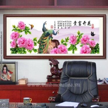 HH0747 Tranh thêu chữ thập Hoa Khai Phú Quý kích thước trung bình 149x59cm