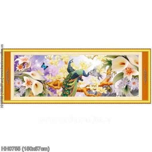 HH0755 Tranh thêu chữ thập Phú quý mãn đường kích thước trung bình 150x57cm