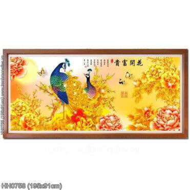 HH0758 Tranh chữ thập thêu kín Hoa Khai Phú Quý khổ lớn