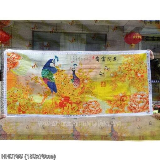 HH0759 Tranh chữ thập thêu kín Hoa Khai Phú Quý khổ trung bình