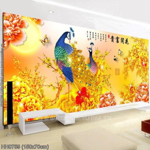 HH0759 Tranh Hoa Khai Phú Quý thêu kín kích thước trung bình
