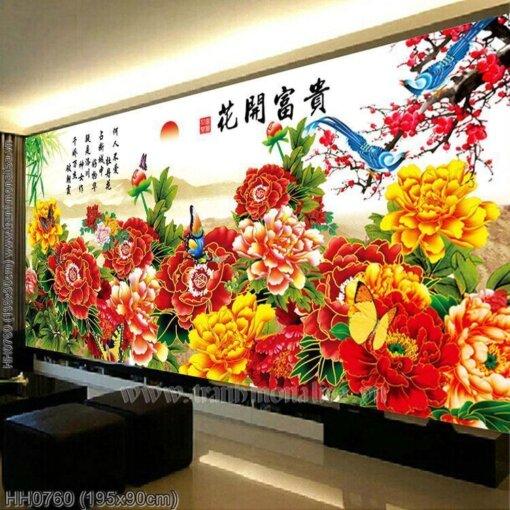 HH0760 Tranh chữ thập thêu kín Hoa Khai Phú Quý khổ lớn