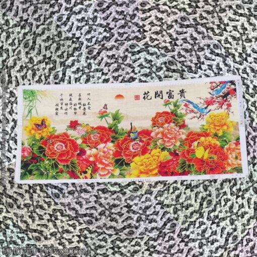 HH0760 Tranh Hoa Khai Phú Quý thêu kín kích thước lớn
