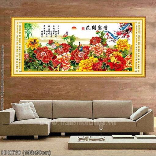 HH0760 Tranh thêu chữ thập Hoa Khai Phú Quý kích thước lớn 195x90cm
