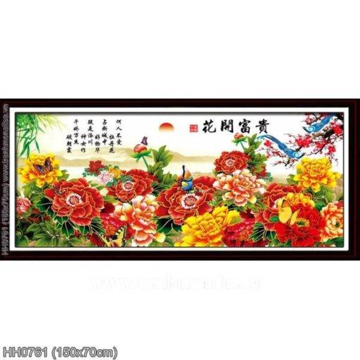 HH0761 Tranh thêu chữ thập Hoa Khai Phú Quý kích thước trung bình 150x70cm