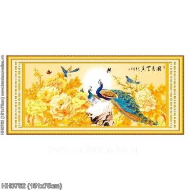 HH0762 Tranh chữ thập thêu kín Hoa Khai Phú Quý khổ trung bình