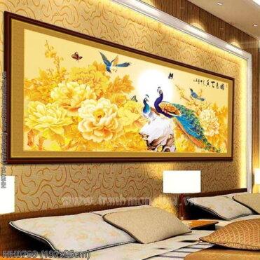 HH0763 Tranh chữ thập thêu kín Hoa Khai Phú Quý khổ lớn