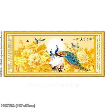 HH0763 Tranh thêu chữ thập Hoa Khai Phú Quý kích thước lớn 197x96cm