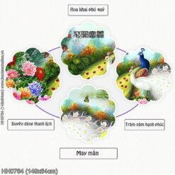 HH0764 Tranh chữ thập thêu kín Hoa Khai Phú Quý khổ trung bình
