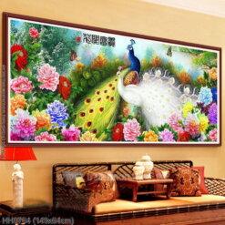 HH0764 Tranh Hoa Khai Phú Quý thêu kín kích thước trung bình
